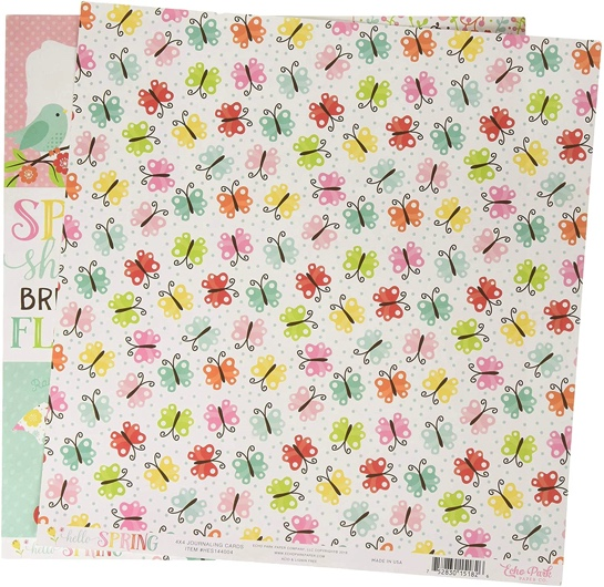 Butterflies and Journaling Cards Double Sided 12x12 Scrapbooking Paper