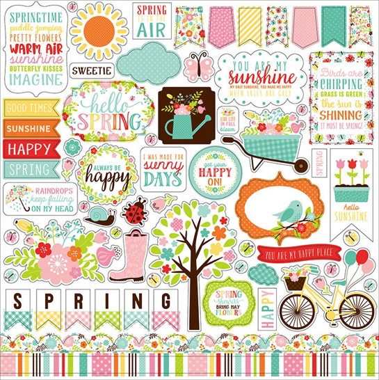 Hello Spring 12x12 Cardstock Scrapbooking Stickers and Borders