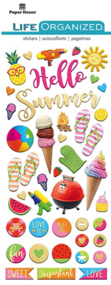 Hello Summer Puffy Scrapbooking Stickers