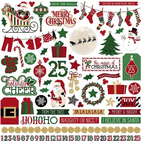 Here Comes Santa 12x12 Cardstock Scrapbooking Stickers