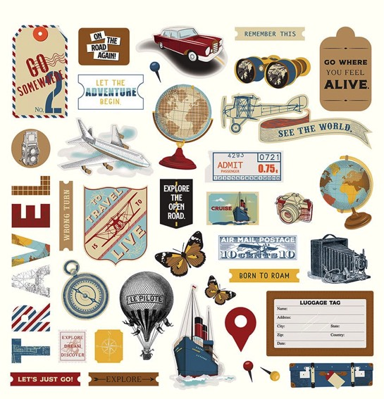 Here and There 12x12 Cardstock Scrapbooking Stickers