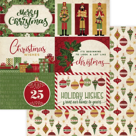 Holiday Wishes 12x12 Double Sided Scrapbooking Paper