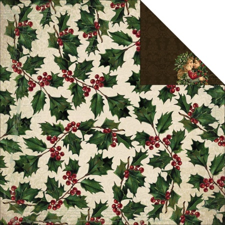 Holly Berries 12x12 Double Sided Scrapbooking Paper