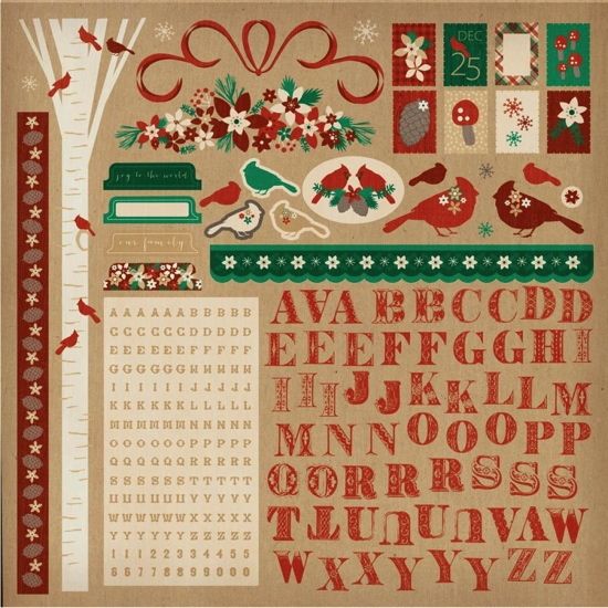 Holly Bright 12x12 Cardstock Scrapbooking Stickers and Alphabets