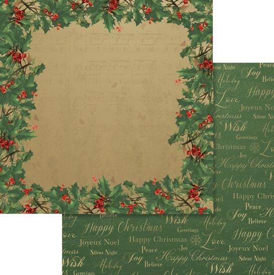 Holly Christmas Frame 12x12 Double Sided Scrapbooking Paper