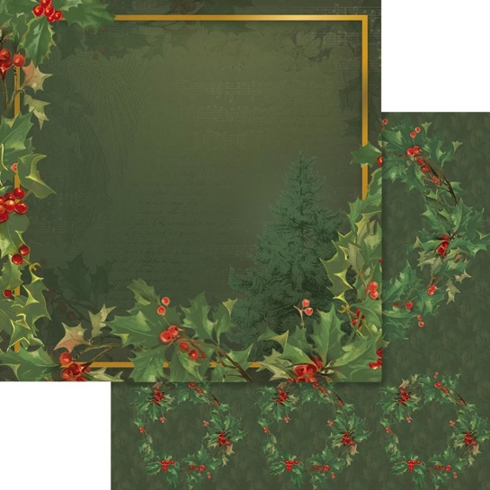 Holly and Tree Frame 12x12 Double Sided Scrapbooking Paper
