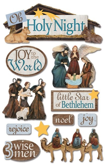 Nativity Holy Night 3D Glitter Scrapbooking Stickers