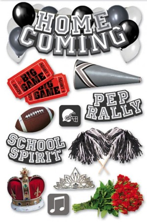 Home Coming 3D Glitter Scrapbooking Stickers