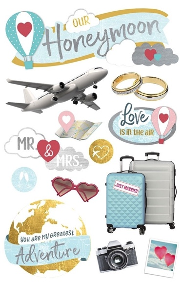 Honeymoon 3D Glitter Scrapbooking Stickers