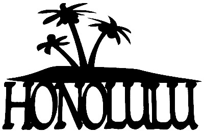 Honolulu Scrapbooking Laser Cut Title With Palm Trees