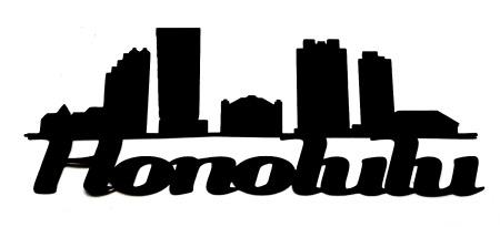 Honolulu Scrapbooking Laser Cut Title with skyline