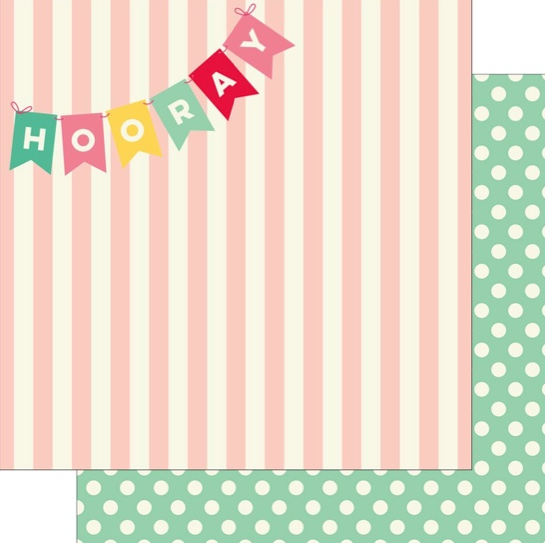 Hooray Double Sided 12x12 Scrapbooking Paper