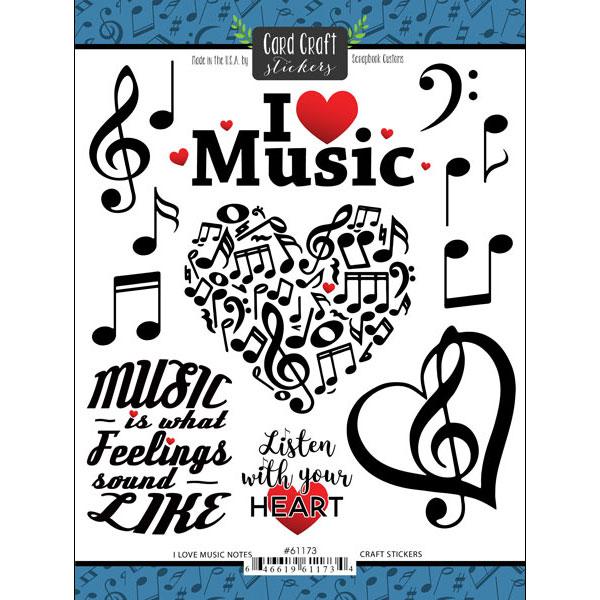 I Love Music Scrapbooking Stickers