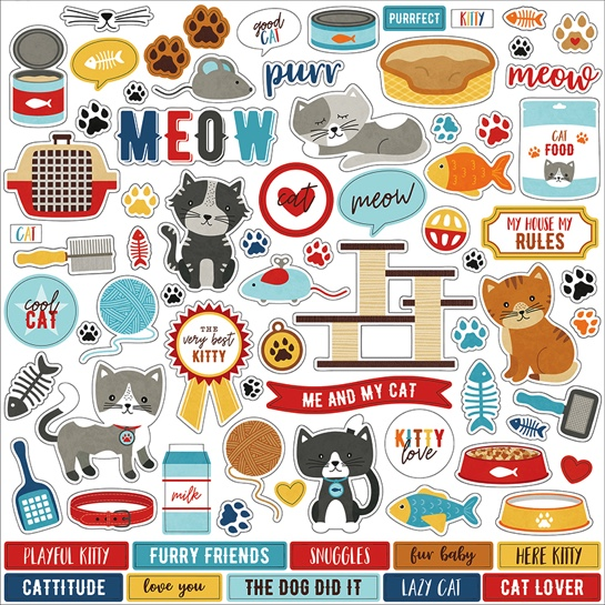 I Love My Cat 12x12 Cardstock Scrapbooking Stickers