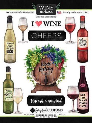 I Love Wine Scrapbooking Stickers