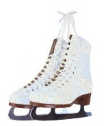 Ice Skates Glittered Die Cut Scrapbooking Sticker