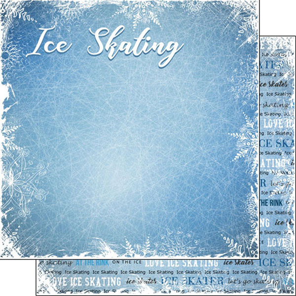 Ice Skating Winter Adventure 12x12 Double Sided Scrapbooking Paper