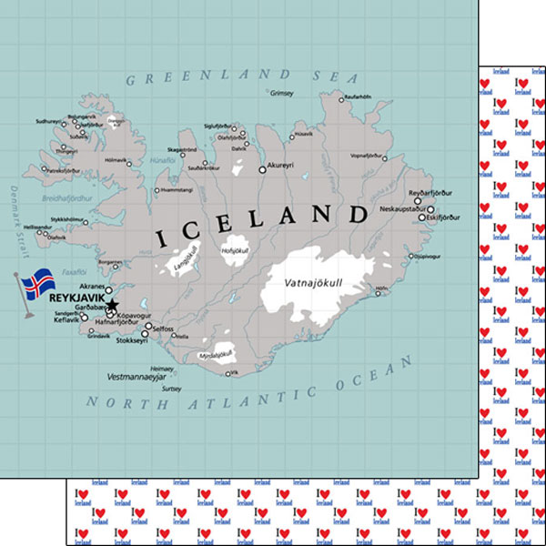 Iceland Adventure Map 12x12 Double Sided Scrapbooking Paper