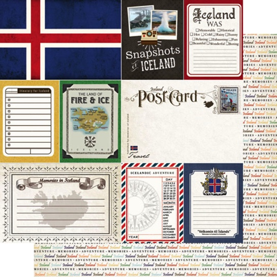 Iceland Journal 12x12 Double Sided Scrapbooking Paper