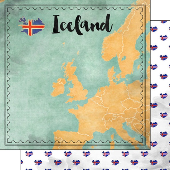 Iceland Sights Map 12x12 Double Sided Scrapbooking Paper