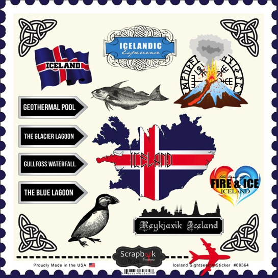 Iceland Sightseeing 12x12 Scrapbooking Stickers