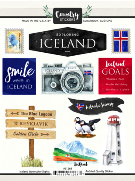 Iceland Watercolour Scrapbooking Stickers