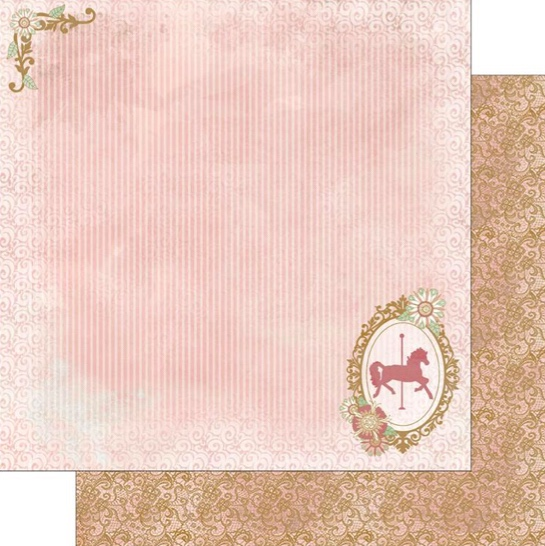 Carousel Horse Silhouette Double Sided 12x12 Scrapbooking Paper