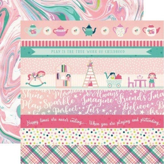 Imagine Pink Border Strips Double Sided 12x12 Scrapbooking Paper