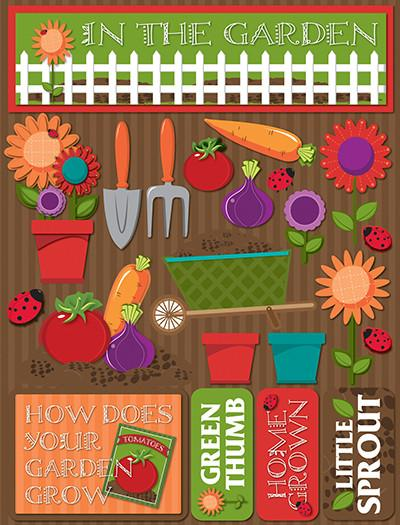 In the Garden 3D Scrapbooking Stickers