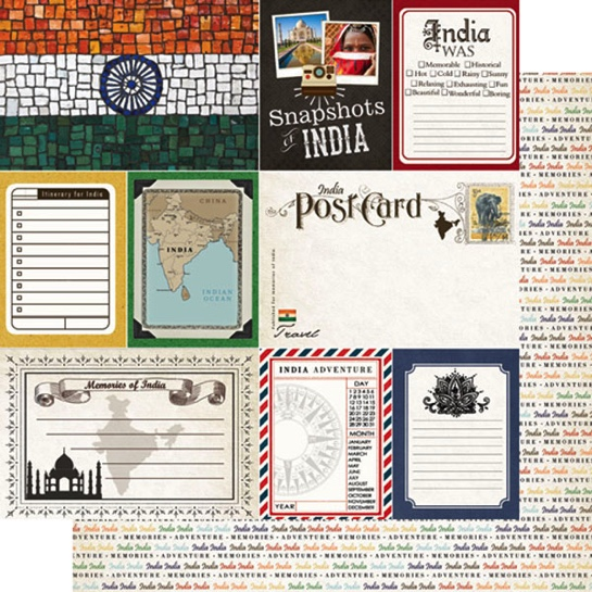India Journal 12x12 Double Sided Scrapbooking Paper