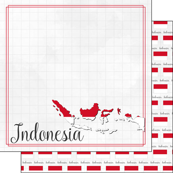 Indonesia 12x12 Double Sided Scrapbooking Paper