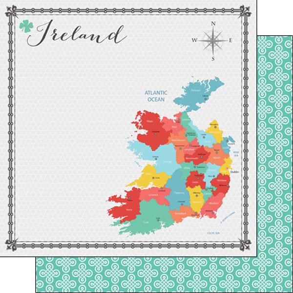 Ireland Memories Map 12x12 Double Sided Scrapbooking Paper