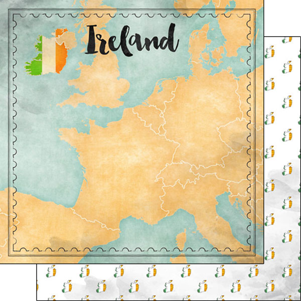 Ireland Sights Map 12x12 Double Sided Scrapbooking Paper