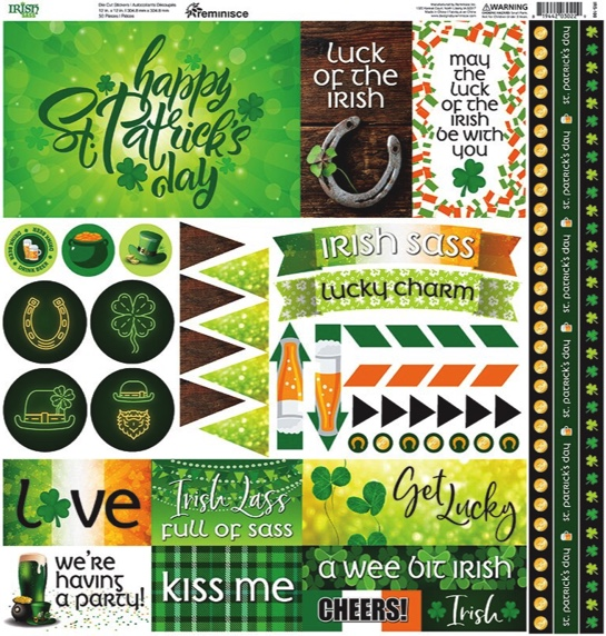 Irish Sass 12x12 Cardstock Scrapbooking Stickers and Borders