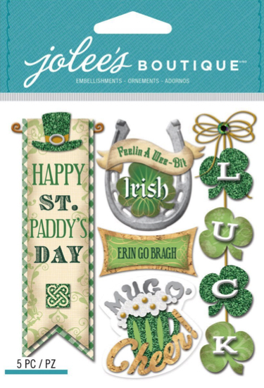 Irish Words and Phrases Glittered Jolees 3D Scrapbooking Stickers
