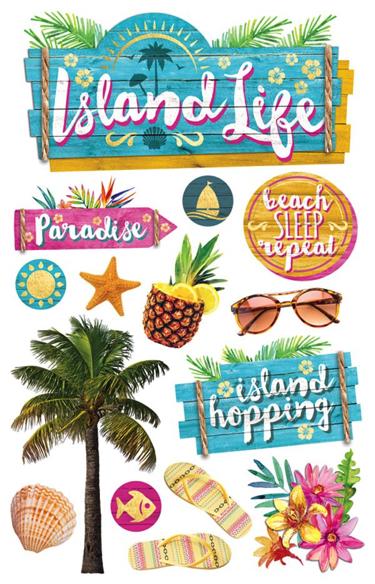 Island Life 3D Glitter Scrapbooking Stickers