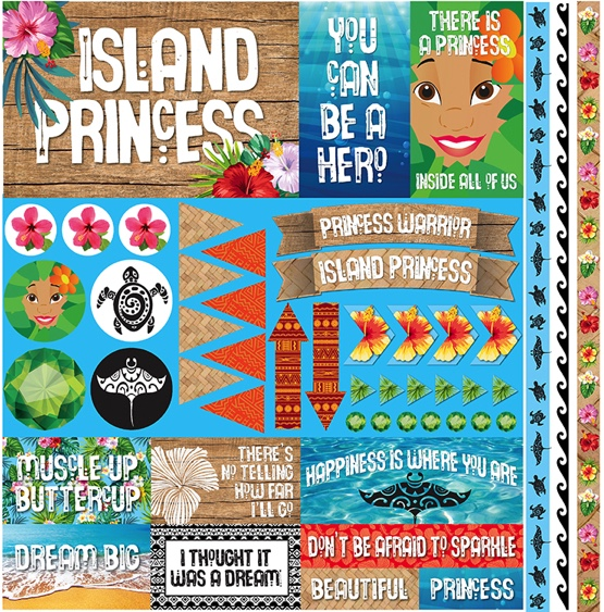 Island Princess 12x12 Cardstock Scrapbooking Stickers and Borders