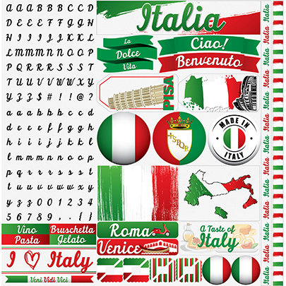 Italy 12x12 Cardstock Scrapbooking Stickers, Alphabet and Borders