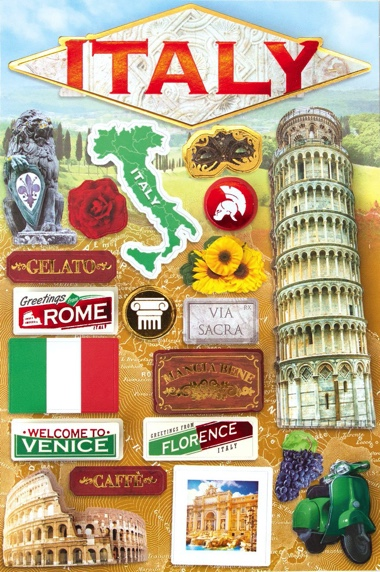 Italy 3D Destinations Scrapbooking Stickers