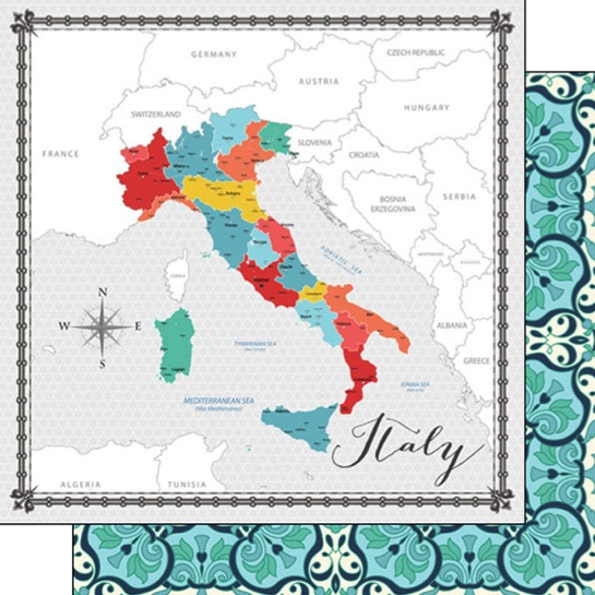 Italy Memories Map 12x12 Double Sided Scrapbooking Paper