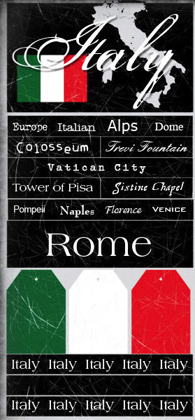 Italy Large Scrapbooking Stickers