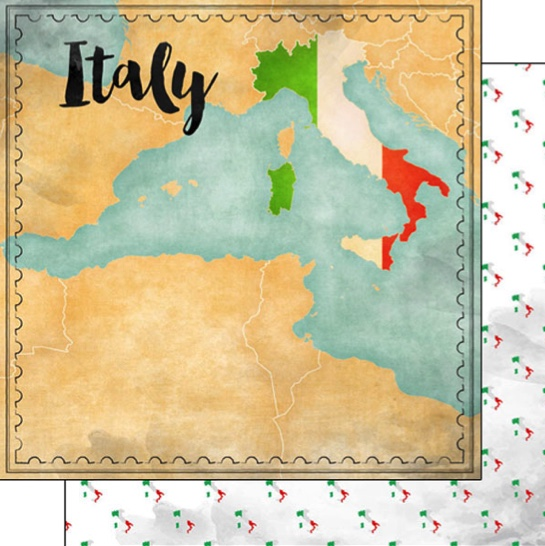 Italy Sights Map 12x12 Double Sided Scrapbooking Paper