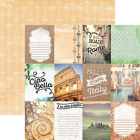 Italy Tags 12x12 Double Sided Scrapbooking Paper