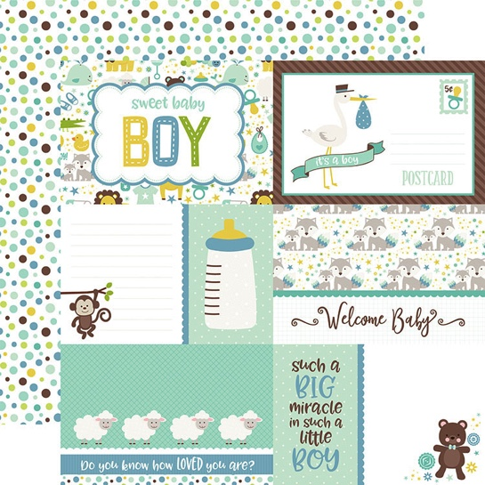 Sweet Baby Boy Journaling Double Sided 12x12 Scrapbooking Paper