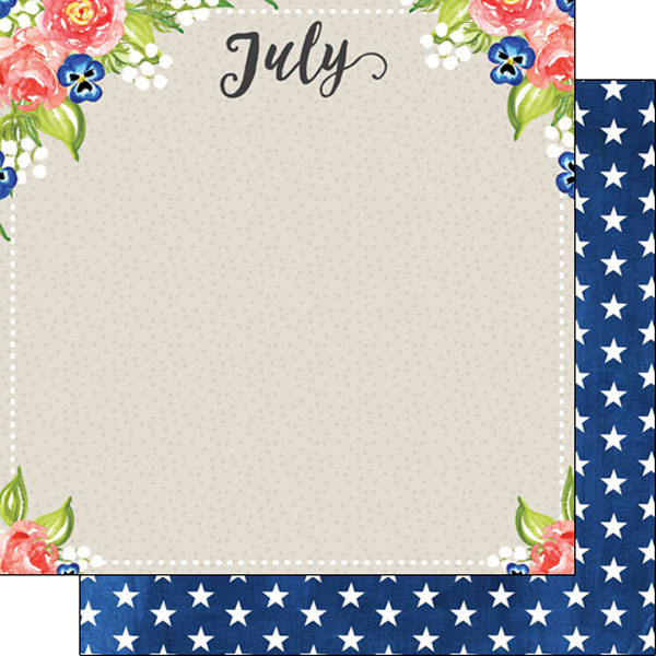 July 12x12 Double Sided Scrapbooking Paper