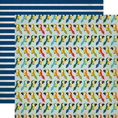 Jungle Safari Parrots Double Sided 12x12 Scrapbooking Paper