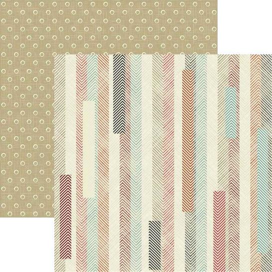 Junkin' Stripes 12x12 Double Sided Scrapbooking Paper
