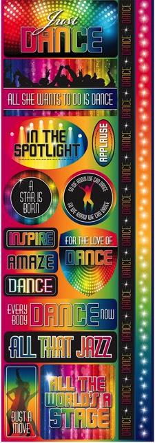 Just Dance Cardstock Scrapbooking Stickers and Borders