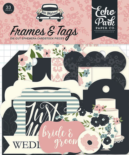Just Married Frames and Tags Die Cut Scrapbooking Shapes