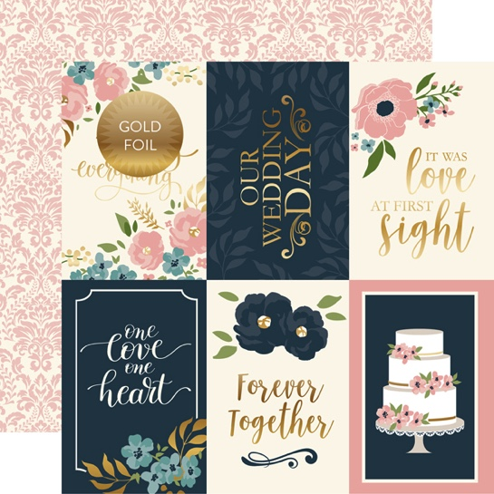 Just Married Journal Cards 12x12 Double Sided Scrapbooking Paper with Foil